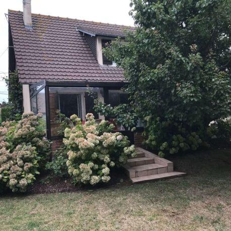 Façade côté jardin avec véranda maison Villers sur Mer – ST Immobilier Elbeuf