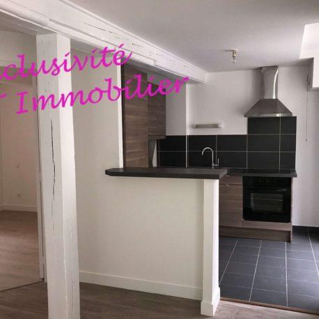 Salle de séjour-salon cuisine - appt F3 - rue de Clieu - Dieppe - - Exclusivité - ST Immobilier Elbeuf