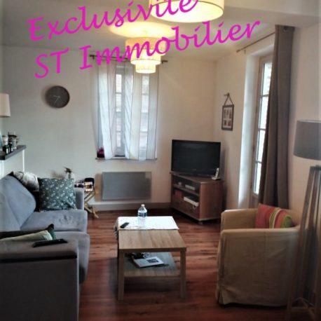 Vue salon - appt F2 duplex - rue des Bonnes Femmes - Dieppe - Exclusivité - ST Immobilier Elbeuf